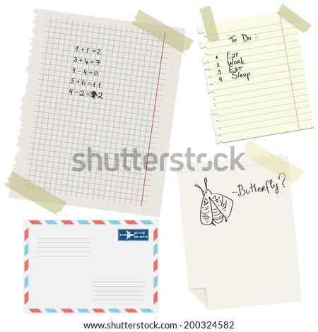 Vector illustration of a set of torn copybook and notebook pages and an envelope - stock vector