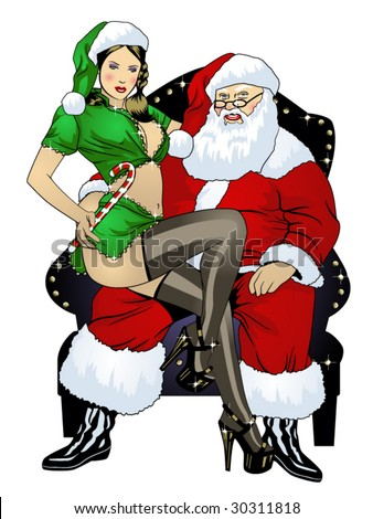 vector illustration of a sexy elf pinup sitting on santa's lap...for more pinups, see my port!! - stock vector