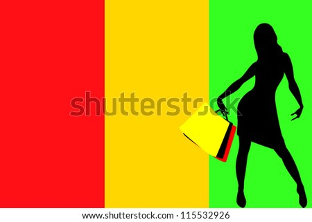 Vector Illustration of a sexy woman silhouette with shopping bags with the flag of Guinea