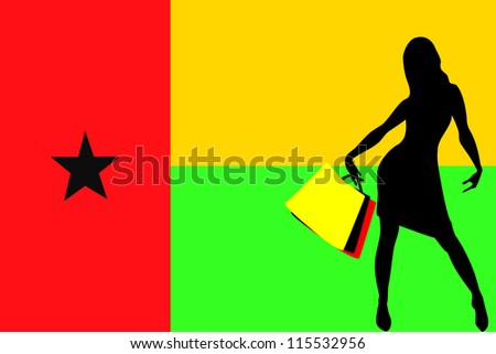 Vector Illustration of a sexy woman silhouette with shopping bags with the flag of Guinea Bissau