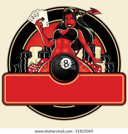 Vector illustration of a sexy young female devil sitting with her legs spread holding four aces in front of a neon casino sign poker chips, dice and eight ball. - stock vector