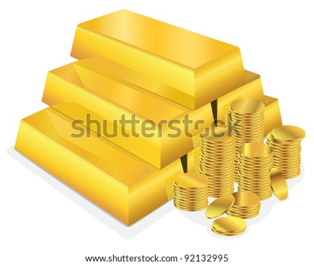 Vector illustration of a shiny stack of gold bars beside several stacks of gold coins on a white background. - stock vector