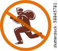 vector illustration of a Sign of a burglar or thief running with loot inside a crossed circle - stock photo
