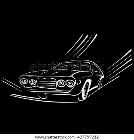 vector illustration of a silhouette of a retro car on move - stock vector