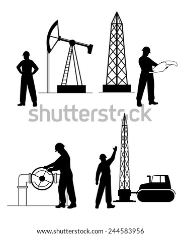 Vector illustration of a  silhouette oilman background in  infrastructure - stock vector
