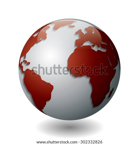 Vector illustration of a silver globe with maroon continents