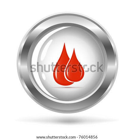 vector illustration of a silver icon with the blood drops - stock vector