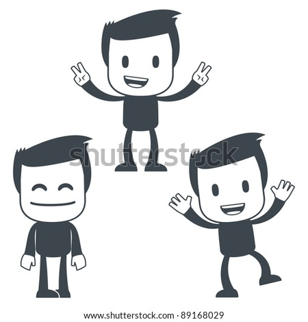 Vector illustration of a simple cute characters for use in presentations, manuals, design, etc. - stock vector