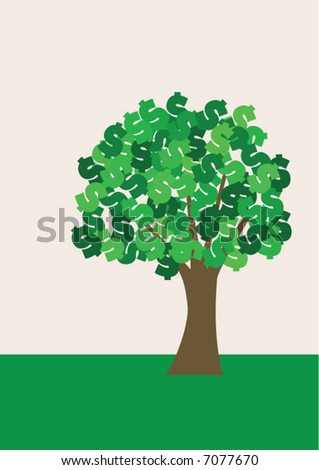 Vector illustration of a simplified tree with green dollar signs as leafs. Space left above and under tree. - stock vector