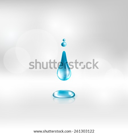 Vector illustration of a single blue shiny water drop - stock vector