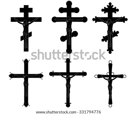 Vector illustration of a six crucifixions silhouettes