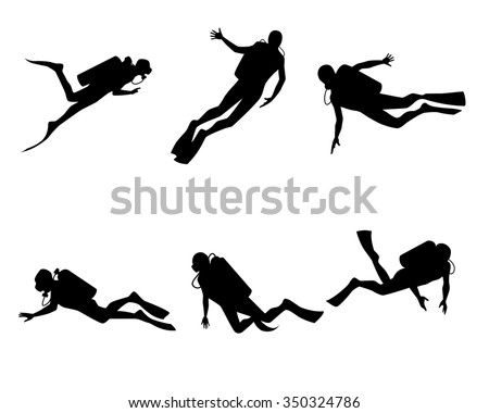 Vector illustration of a six divers set - stock vector