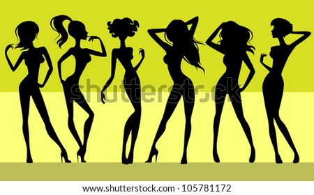 Vector illustration  of a six girls silhouettes