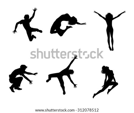 Vector illustration of a six jumping teenagers