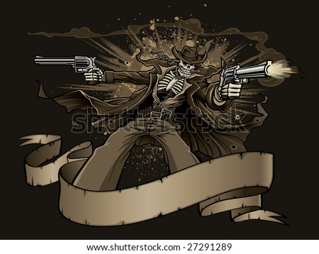 Vector illustration of a skeleton gunslinger wearing a long trench coat while shooting two revolvers from behind a blank western-style banner as an explosion goes off in the background. - stock vector
