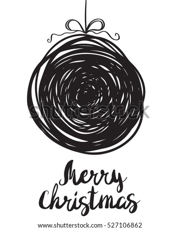 Vector illustration of a sketch greeting Christmas card with ball