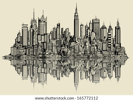 Vector illustration of a sketch of new york (fictitious) - stock vector