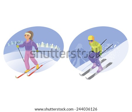 Vector illustration of a skier and mountain-skier - stock vector