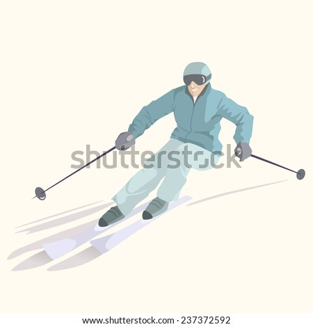Vector illustration of a skier on downhill. Winter recreational activities and sport illustration. Advertising design elements. - stock vector