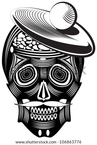 Vector illustration of a skull - tattoo
