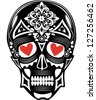 Vector illustration of a skull tattoo with red hearts in its eyes - stock photo