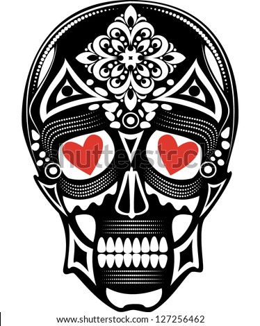 Vector illustration of a skull tattoo with red hearts in its eyes - stock vector