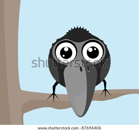 Vector illustration of a small raven sitting on a branch - stock vector