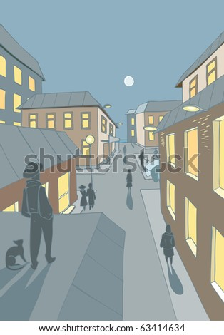 Vector illustration of a small town neighborhood in the evening with people walking on the streets - stock vector
