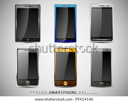 Vector illustration of a smart phone sets mobile handsets in black, blue, white and yellow colors with large  touch screen. - stock vector