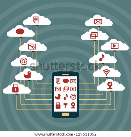 Vector illustration of a smartphone connected to cloud networks.