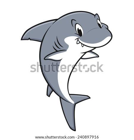 Vector illustration of a smiling friendly shark for design element - stock vector