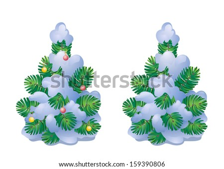 Vector illustration of a snow-covered small Christmas tree, isolated on white