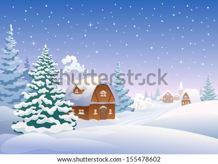 Vector illustration of a snow-covered village