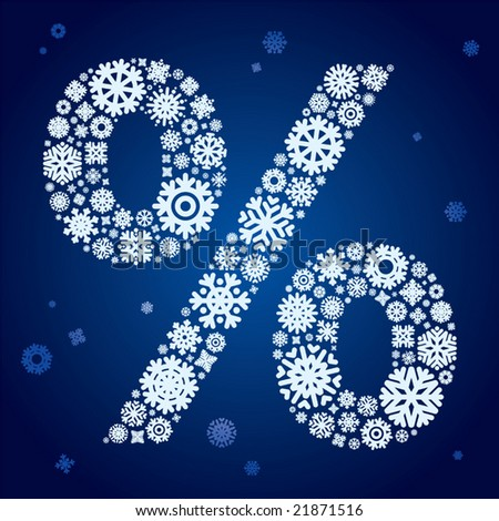 Vector illustration of a snowflakes percent sign. - stock vector