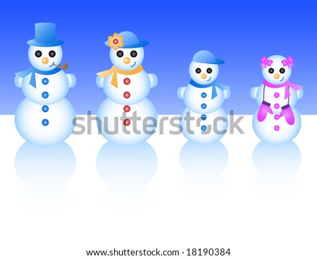 Vector illustration of a snowman family, including dad, mom, boy, and girl. - stock vector