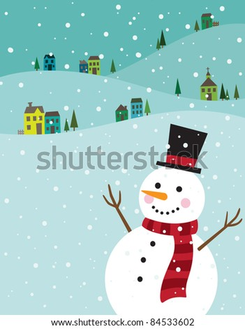 Vector illustration of a snowman with winter background. - stock vector