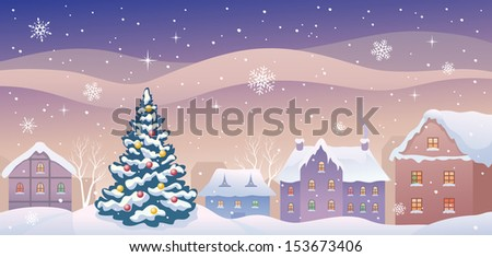 Vector illustration of a snowy evening old town at Christmas time, horizontal view - stock vector