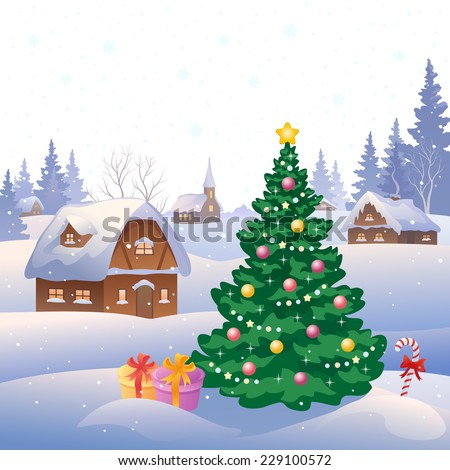 Vector illustration of a snowy village - stock vector