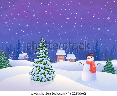 Vector illustration of a snowy winter night village with a cute snowman and a snow covered Christmas tree