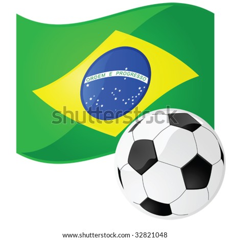 Vector illustration of a soccer ball in front of the Brazilian flag