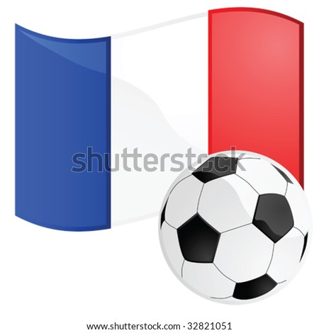 Vector illustration of a soccer ball in front of the French flag