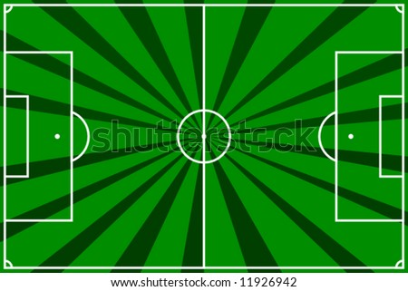 vector illustration of a  soccer field with dark and light green strips - stock vector