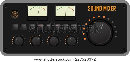 Vector illustration of a sound mixer control panel - stock vector