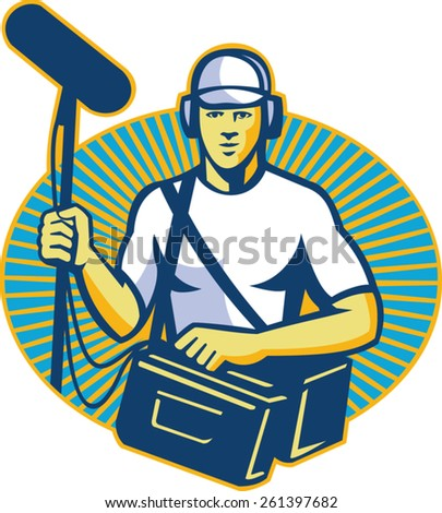 vector illustration of a soundman worker with headphone holding a telescopic microphone done in retro style inside oval facing front