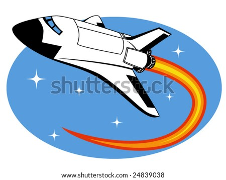 vector illustration of a space shuttle - stock vector