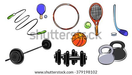 Vector illustration of a sport equipment set - stock vector