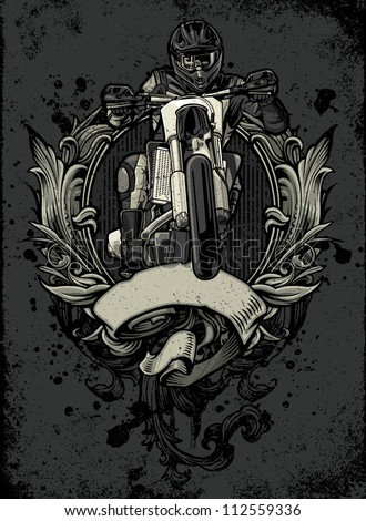 Vector illustration of a sport motorcycle rider racing over an ornate heraldry crest with blank banner on a distressed background with a grunge and paint splatter texture mix - stock vector