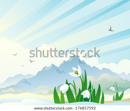 Vector illustration of a spring landscape with snowdrops - stock vector