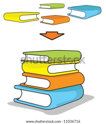 Vector illustration of a stack of colorful books. Rearrange stacking, re-size & recolor to your liking.