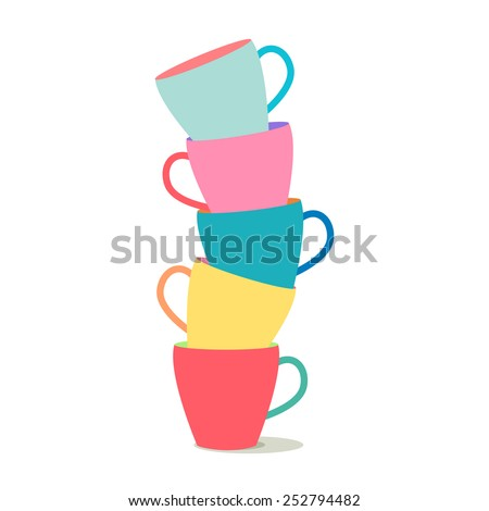 vector illustration of a stack of colorful coffee cups on a white background - stock vector